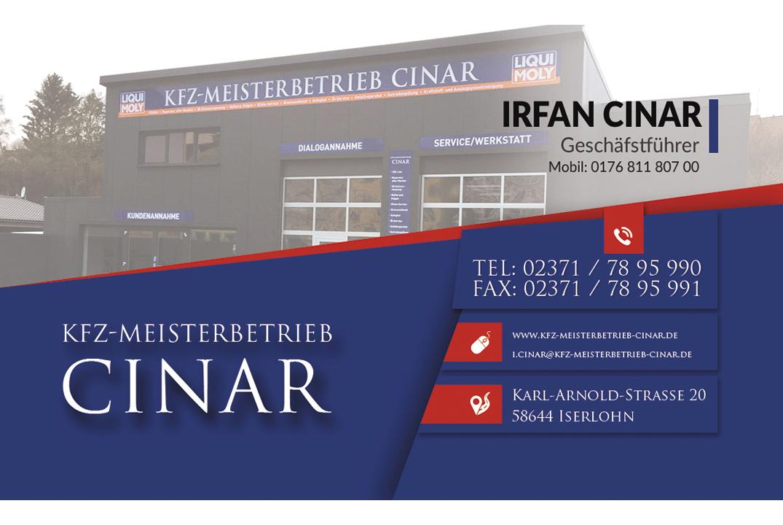Visitenkarte Irfan Cinar Rgb Kfz Meisterbetrieb Cinar