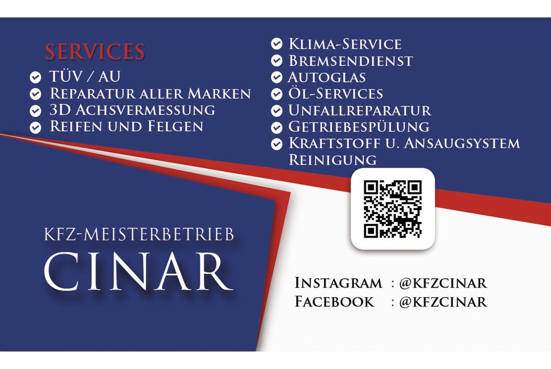 Visitenkarte Rückseite Rgb Kfz Meisterbetrieb Cinar